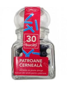 Patroane cerneala scurte albastre Daco, 30 buc/borcan