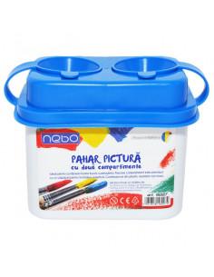 Pahar pentru pictura NEBO cu 2 compartimente, 9.5 cm, Albastru