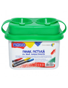 Pahar pentru pictura NEBO cu 2 compartimente, 9.5 cm, Verde