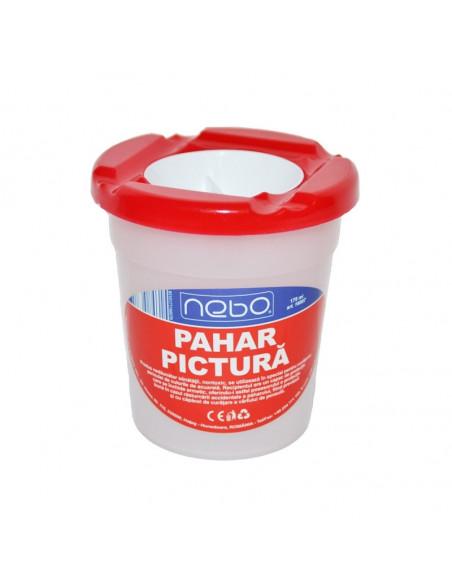 Pahar pentru pictura NEBO cu capac, 8.5 cm, Rosu