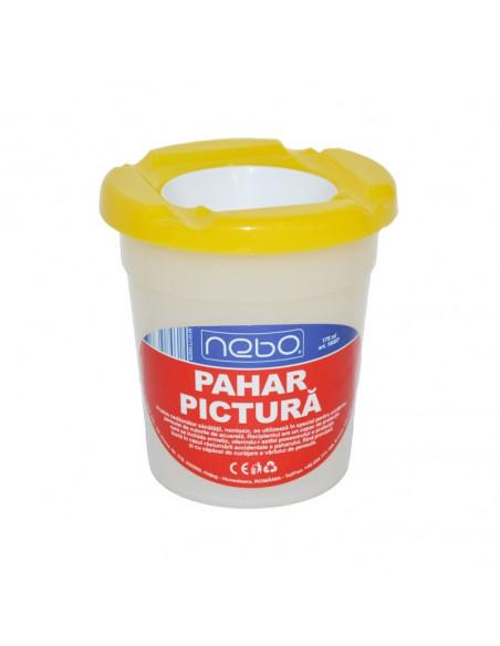 Pahar pentru pictura NEBO cu capac, 8.5 cm, Galben