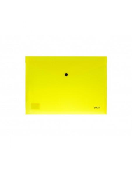 Mapa plastic plic cu capsa Daco A4, Galben Neon