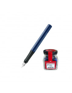 Set scoala Faber - Castell Stilou Grip 2010 Albastru F, Cartuse