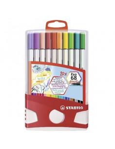 Carioca STABILO Pen 68 cu varf tip pensula, 20 buc/set, tip Color Parade