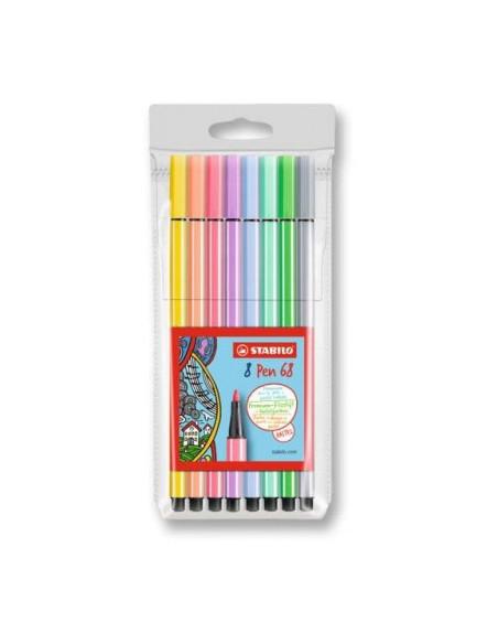 Carioca STABILO Pen 68, 1 mm, set 8 culori pastelate