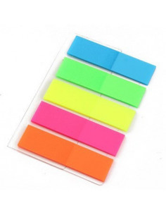 Index plastic 44 x 12.7 mm, 5 culori neon x 20 file, forma steag