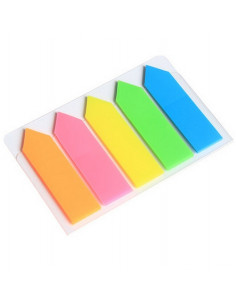 Index plastic 44 x 12.7 mm, 5 culori neon x 20 file, forma sageata