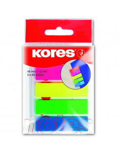 Index Plastic 12 X 45 Mm 5 Culori X 25 File Kores