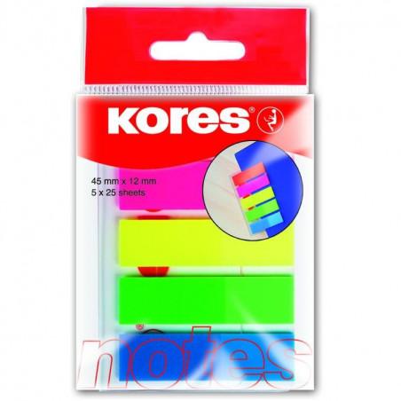 Index Plastic 12 X 45 Mm 5 Culori X 25 File Kores