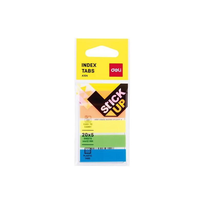 Index Adeziv Deli Plastic 12 x 44 mm 5 Culori 20 File