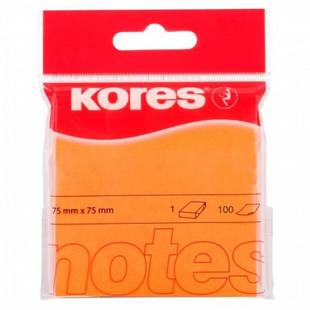 Notes Adeziv 1, Portocaliu Neon, 75 X 75 Mm, 100 File, Kores