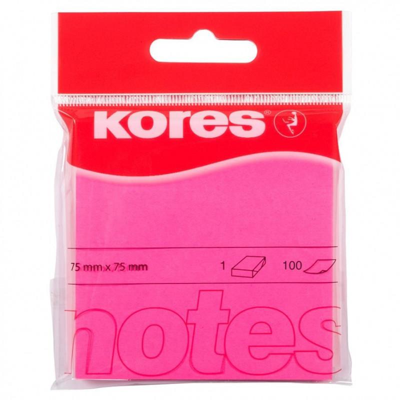 Notes Adeziv 4, Roz Neon, 75 X 75 Mm, 100 File, Kores