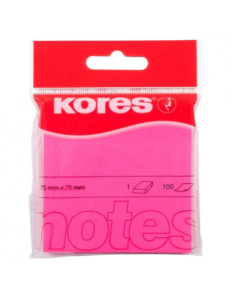 Notes Adeziv 4, Roz Neon, 75 X 75 Mm, 100 File, Kores