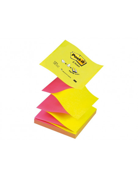Notes Adeziv Post-It 3M Z Neon Bicolor 76 X 76 Mm 100 File