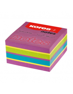 Notes Adeziv Spring, 75 X 75 Mm, Neon Mixt, 450 File, Kores
