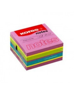 Notes Adeziv Summer, 75 mm X 75 mm, Neon Mixt, 450 File, Kores