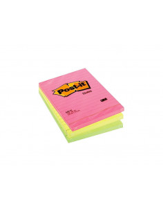 Notes Adeziv Post-It 3M Neon Liniat 102 X 152 Mm 100 File
