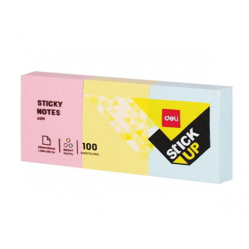 Notes Adeziv Deli 3 x 38 x 51 mm 3 Culori 100 File