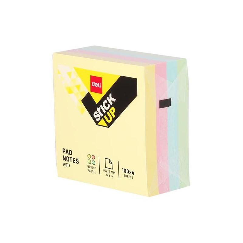Notes Adeziv Deli 76 x 76 mm 4 Culori Pastel 400 File