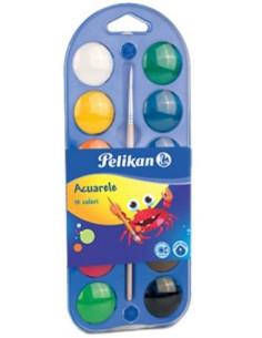 Acuarele Pelikan, 12 Culori Pastila + Pensula Pelikan