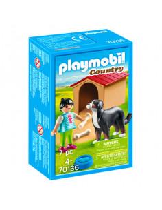 Figurină fetiţă cu câine şi cuşcă pentru câine - 70136