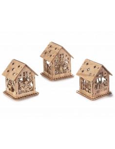Casa de Craciun din lemn cu lumina led, 11 cm