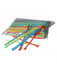 Set Paie Drepte din Plastic cu Lingurita diverse culori, 205 x