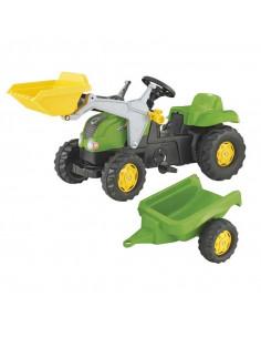 Tractor cu pedale Rolly Kid X cu remorca si cupa, Verde