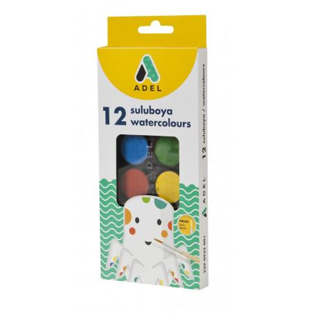 Acuarele Adel, 12 culori, 24 mm + pensula