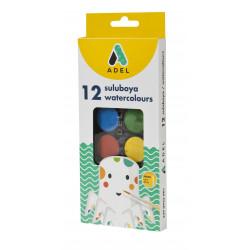 Acuarele Adel, 12 culori, 30 mm + pensula