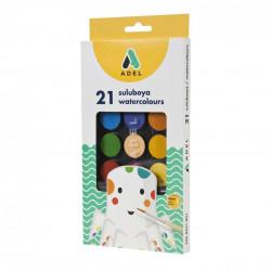 Acuarele Adel, 21 culori + pensula