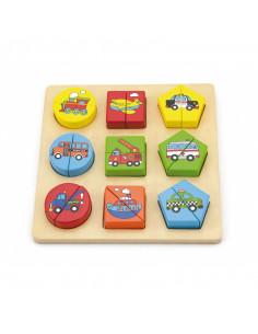 Puzzle din cuburi din lemn cu mijloace de transport