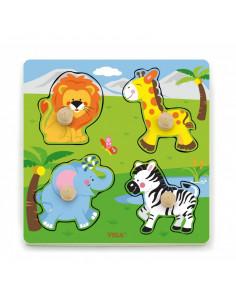 Puzzle cu manere - animale salbatice