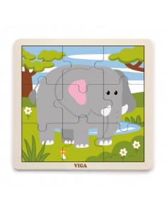 Puzzle din 9 piese mari - elefant