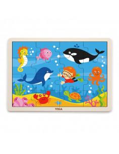 Puzzle din lemn din 16 piese - animale din ocean