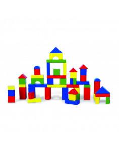 Cuburi de construit din lemn, colorate, 3.5 cm, 50 buc