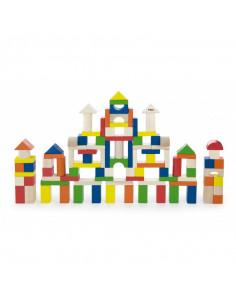 Cuburi de construit din lemn, colorate, 2.5 cm, 100 buc