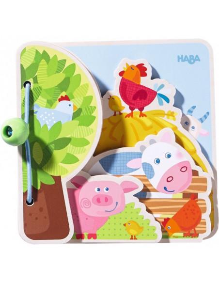 Carte din lemn pentru bebelusi - Prietenii de la ferma, Haba
