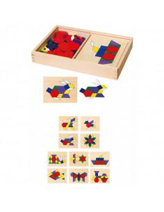 Set mozaic Tangram din lemn cu modele, Viga
