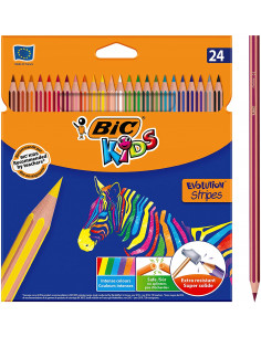 Creioane colorate BIC Kids Evolution Stripes, 24 buc/set