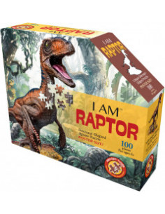 Puzzle Silueta Junior I Am Raptor, 100 piese