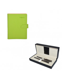 Set Nebo 3 - Agenda B5 Verde cu magnet, 100 File cu Pix si