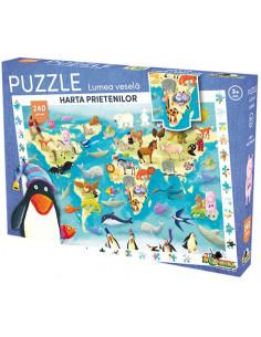 Puzzle Noriel Lumea Vesela - Harta prietenilor, 240 piese