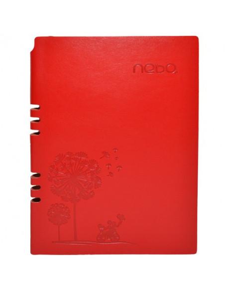 Agendă A5 Nebo 16153 Nedatată,Coperta piele ECO, 100 File, Rosu