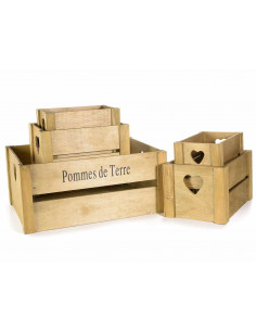 Set 5 cutii lemn cu maner inima