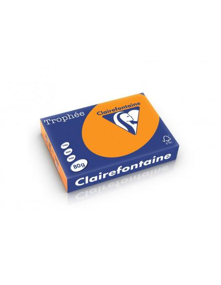 Hârtie color Clairefontaine Fluo, Portocaliu fluo, 500 coli/top