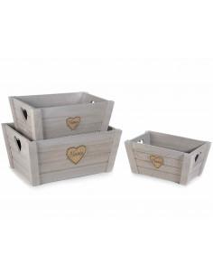 Set 3 cutii lemn cu maner inima, Gri