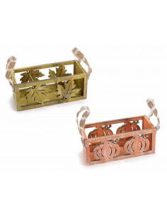Set 2 cutii din lemn cu decoratiuni de toamna