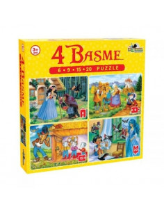 Puzzle Noriel 4 in 1 Basme Mici, 6 - 9 - 15 - 20 piese