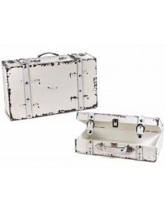 Set 2 valize lemn cu decoratiuni din piele, Alb